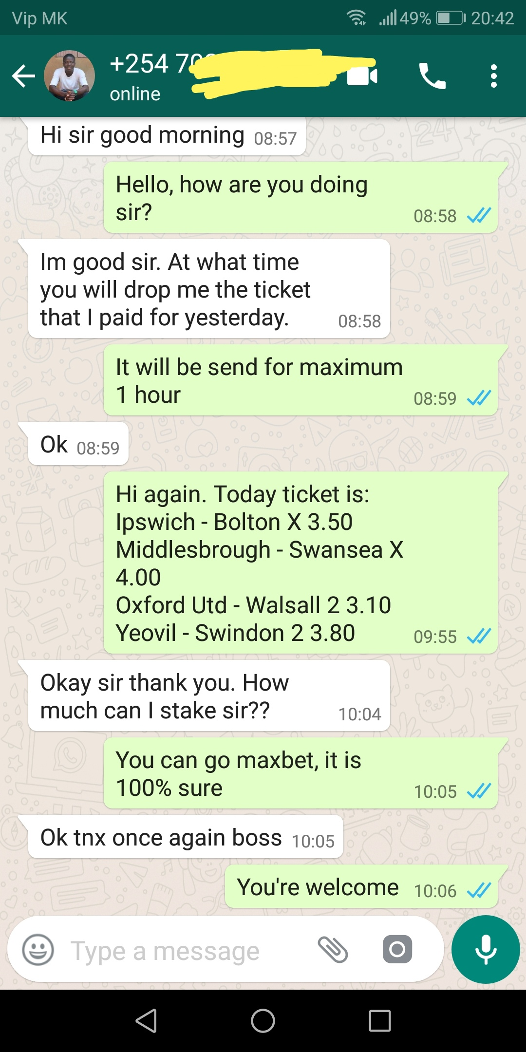 WhatsApp proof ticket 22 09 2018